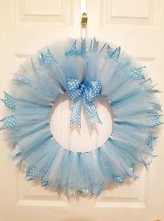 Blue tulle wreath Nursery decor Nursery wall by WreathsbyGram