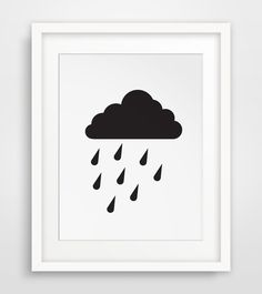 Rain Cloud Print Cloud Art Cloud Nursery by MelindaWoodDesigns #cloudprints #nurserydecor