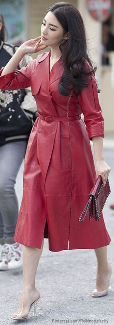 Street Style | Red leather Valentino trench