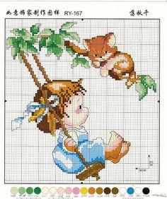 girl in swing Cross Stitch For Kids, Cute Cross Stitch, Cross Stitch Flowers, Cross Stitch Kits, Cross Stitch Charts, Funny Cross Stitch Patterns, Cross Stitch Designs, Cross Stitching, Cross Stitch Embroidery