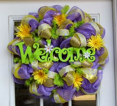 Welcome Spring Wreath Mesh Flowers