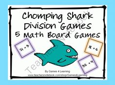 Chomping Shark Division Board Games product from Games-4-Learning on TeachersNotebook.com