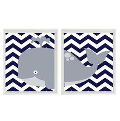 Nursery Art Whale Chevron Wall Art Print  - Gray Navy Blue- Ocean Sea Nautical Nursery Children Kid Room Home Decor (2) 8x10 Prints. $30.00, via Etsy.