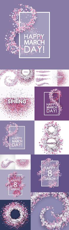 Блог Колибри: Spring, 8 March, vector backgrounds with flowers 8 Mars, Rag Rug Tutorial, Instagram Banner, Colorful Fish, Spring Blossom, 8th Of March, Hello Spring, Web Design Inspiration, Vector Background