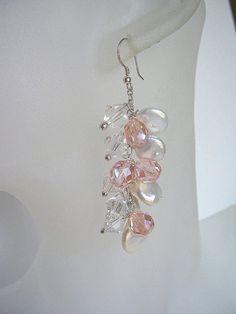 Pearl and pink crystal wedding earrings wedding by starrydreams, $60.00