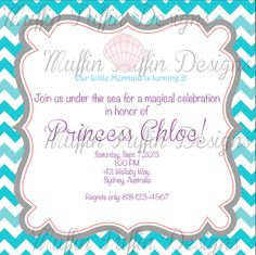 PRINTABLE MERMAID Party Invitation by MuffinPuffinDesigns on Etsy, $15.00