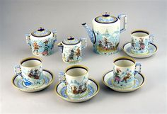 The unique, museum quality Tea Set illustrated with drawings of Alexey Vorobyevsky, famous painter of Russia who worked at Lomonosov factory