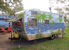 vintage campers makeovers | why not a mural on the side?