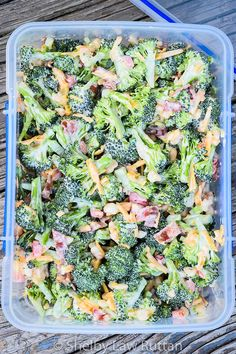 Easy Keto Broccoli Salad is a low carb cold salad full of bacon, cheese, and macadamia nuts and touch jalapeno and red bell pepper for a sweet heat touch.