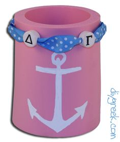 Delta Gamma Drink Holder.  The Supply Sack from DIYGreek.com has everything you need including Custom Stencils to make this cute gift for a Delta Gam Sister.  #dee gee, #delta gamma, #little sister,  #koozie,  # anchor, #sorority,  #gift idea, #greek