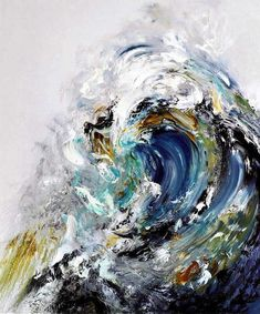 Maggi Hambling - Summer Wave Tunnel. Oil on canvas, 170.2x37.1 cm (2010)  [found at pulmonaire]