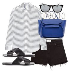 """""""Untitled #18488"""" by florencia95 ❤ liked on Polyvore featuring Forever 21, MANGO, Elizabeth and James, Ancient Greek Sandals, CÉLINE and Ray-Ban"""