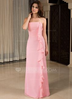 Bridesmaid Dresses - $99.99 - Sheath Strapless Floor-Length Chiffon Bridesmaid Dress With Ruffle (007027457) http://jjshouse.com/Sheath-Strapless-Floor-Length-Chiffon-Bridesmaid-Dress-With-Ruffle-007027457-g27457