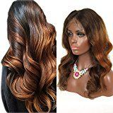 "RosesAngel Ombre Human Hair Wig for Black/White Women Body Wave Brazilian Glueless Lace Front Human Hair Wigs With Baby Hair 22""Full Lace Wig"