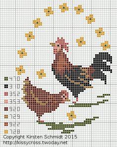 Kitchen Hens 2 of 2 Chicken Cross Stitch, Cross Stitch Bird, Cross Stitch Kitchen, Cross Stitch Animals, Cross Stitch Charts, Cross Stitch Designs, Cross Stitching, Cross Stitch Embroidery, Cross Stitch Patterns