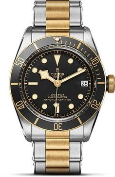 Tudor Heritage Black Bay Black Dial Men's Watch with Two Tone Case and Bracelet Watches For Men Unique, Popular Watches, Cool Watches, Affordable Watches, Tudor Heritage Black Bay, Tudor Black Bay, Tudor Watch Men, Mens Sport Watches, Casual Watches
