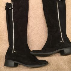 Over the knee black suede Calvin Klein boots black Super cute and comfy size 9 almost new black over the knee boots so super cute from Macy's last year need good new owner Calvin Klein Shoes Over the Knee Boots