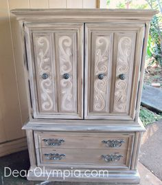 Le Grande Lady - French Country Armoire in Young Kansas Wheat | CeCe Caldwell | CeCe Caldwell's Chalk and Clay Paint | Armoire | Painted Furniture | Upcycle | Shabby Chic | French Country