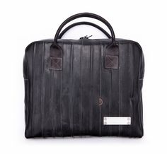 Business bag by Doreen Westphal. Made of bicycle tires inner tubes