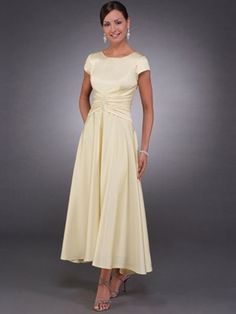 Stretch Satin Cap Sleeves Tea Length Mother of The Bride Dresses 2011