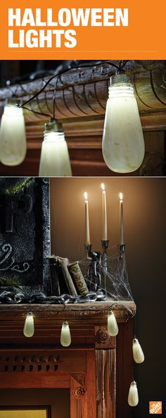 Decorative lights aren't just for Christmas! Decorate your house or office Halloween party with spooky string lights and make this scary holiday one to remember. (Shown in this image: 8-Light Old Fashioned Bulb String Lights http://thd.co/2dgqxbA) See more at The Home Depot.