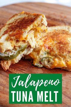 Best Sandwich Recipes, Tuna Recipes, Cooking Recipes, Dinner Recipes, Tuna Melt Sandwich, Tuna Melts, Tuna Melt Recipe, Recipe Box, Grilled Tuna