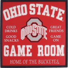 iu football pottery | Ohio State (OSU) Game Room Wooden Sign - Home Of The Buckeyes