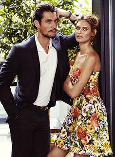 Bianca Balti and David Gandy in Dolce&Gabbana Fall Winter 2014-15, Glamour Magazine