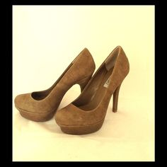 "Jennifer Lopez Tan Platform Pumps Jennifer Lopez ""Lana"" Pumps. Faux suede leather.  new in box. 5 inch heels. Never worn. Size 7.5 Jennifer Lopez Shoes Platforms"