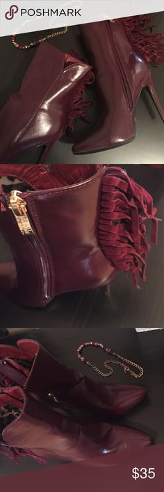 Ox Blood Fringe Booties NEW! Never worn, super cute dark maroon (ox blood) booties! Suede fringes, 4 in. heels! And to make them even cuter, the inside fabric is leopard print ❤️ Shoes Ankle Boots & Booties