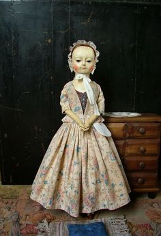 """Reproduction English Wooden Queen Anne Dolls : Lovely """"Victoria"""" is a 18th c. Wooden Doll Reprod..."""