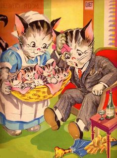So cute! :) #father #kittens #cats #vintage #illustrations