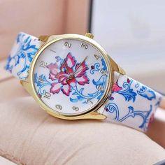 2016 Relojes Mujer Women Dress Watch Blue and White Porcelain Wristwatch PU Leather Band Quartz Gift Watches WWFA1139