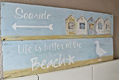 DIY Chippy Weathered Blue Beach Sign !
