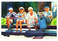 """Holiday reading by Graham Berry Watercolor ~ 13"""" x 19"""""""