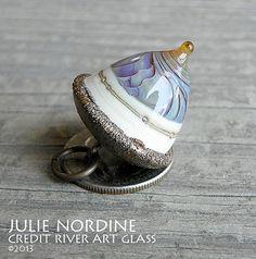 Handmade Lampwork Art Glass and Copper Acorn by Julie Nordine . Credit River Art Glass, $40.00