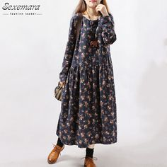 New Style Autumn Winter Women Dresses Vintage Print Casual Long Sleeve Cotton Linen Maxi Dress Swing Floral Big Size Dress