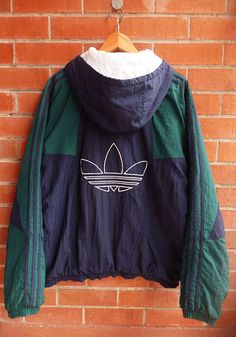 Vintage 80s ADIDAS Hip Hop Run Dmc Style hoodies Multicolour Blue green Puffy…