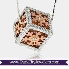 Wonderful White & Rose Gold Snowflake Cube Pendant  #uniquediamondpendant