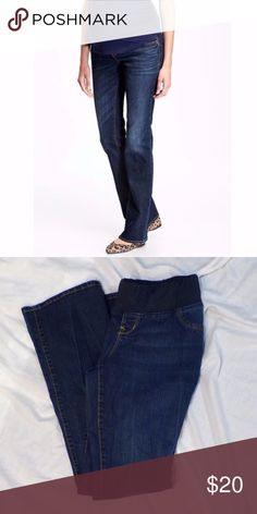 Old Navy Maternity Low Rise Slim Boot Cut Jeans Low rise. Slim bootcut style. Dark wash denim. Demi panel elastic waistband. GUC. Pet Friendly + Smoke Free Home. Old Navy Jeans Boot Cut