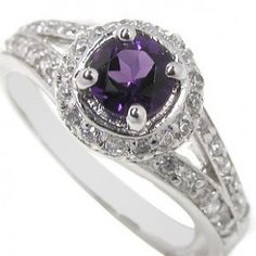 2 Carats antique Amethyst engagement ring for women
