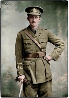 (later Captain) Hugh Montagu Butterworth, Rifle Brigade (The Prince Consort's Own), Battalion, KIA at Hooge (Battle of Loos) on aged 29 colourised by Doug