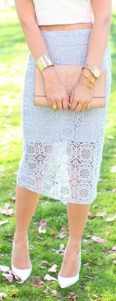 Zara Light Blue Geometric Lace Pencil Skirt by With Love From Kat