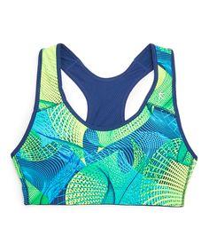 Love this Danskin Blue Abstract Reversible Sports Bra by Danskin on #zulily! #zulilyfinds