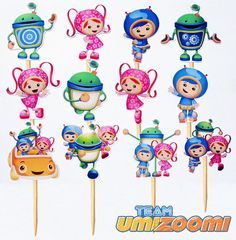 Bring the Umizoomi team to your childs birthday party with these 12 eyecatching Cupcake Toppers. Each set are handmade to order. These are great