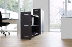 Regał biurowy Riva Office wykonany z HPL. Kolor do wyboru: antracyt lub biały.