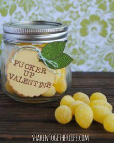 """""""Pucker Up Valentine""""  This is the cutest mason jar Valentine I've seen! #DIY"""