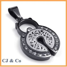 Silver CZ 316L Stainless Steel Men Pendant Necklace - $70nok (free)