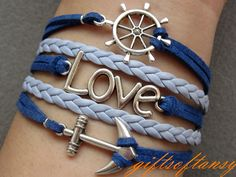 Nautical Bracelet Antique Silver anchor bracelet .... I bought this for an upcoming cruise :)