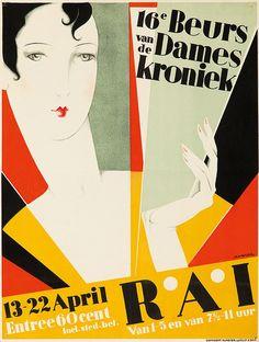 Deco poster by Jan Wijga(1902-1978), 1928, 16e Beurs van de Dames Kroniek, RAI, Rotterdam.